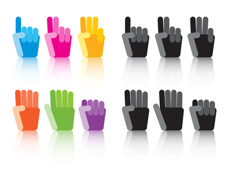 three hands: set of colorful and grey number counting hands Illustration