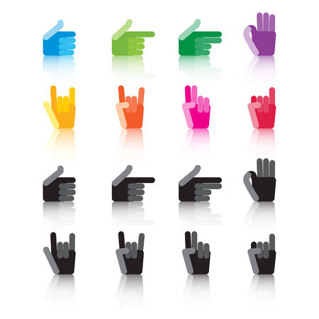 hand signs: set of colorful and grey hand signs