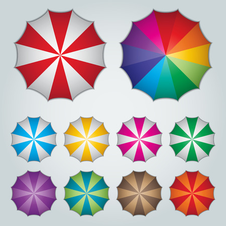 beach umbrella: top view ten colorful umbrellas Illustration