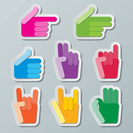 okay sign: colorful paper hand signs Illustration