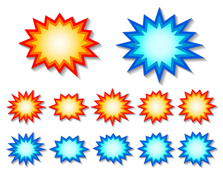 set of red and blue starburst speech bubbles