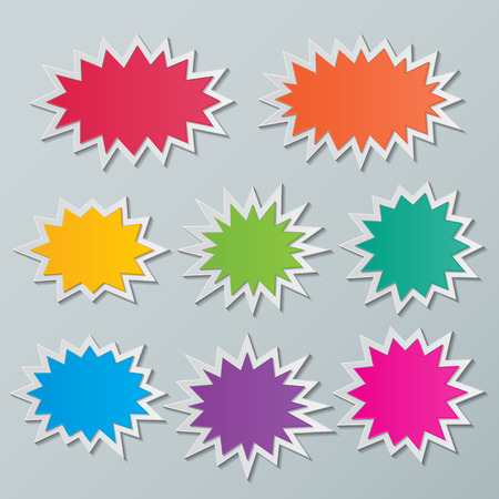 set of blank colorful paper starburst speech bubbles. Ilustração
