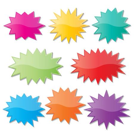 estrellas moradas: conjunto de discurso colorido starburst papel en blanco burbujas.