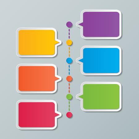 colorful paper speech bubble timeline infographic design templates.