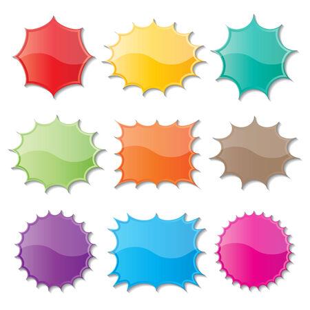 set of blank colorful paper starburst speech bubbles. Ilustrace