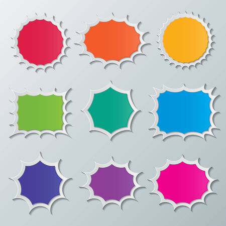 set of blank colorful paper starburst speech bubbles. Vector