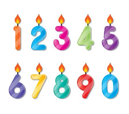 number candles: conjunto de coloridas velas de cumplea�os n�mero felices