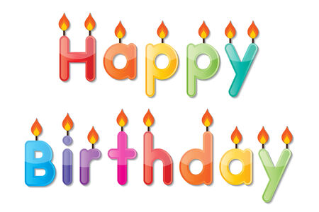 set of colorful happy birthday alphabets candles Vector
