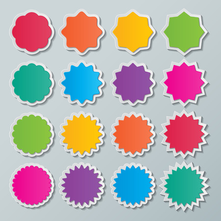 starburst: set of blank colorful paper starburst speech bubbles. Illustration