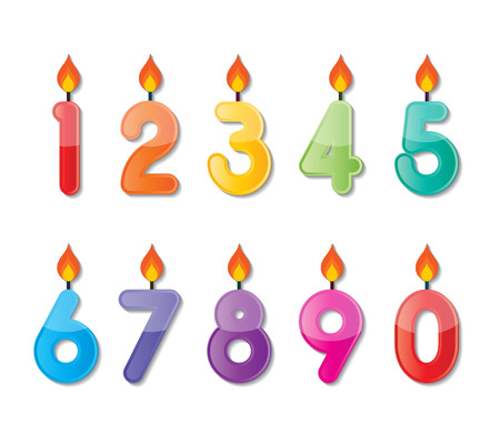 number candles: set of colorful happy birthday number candles