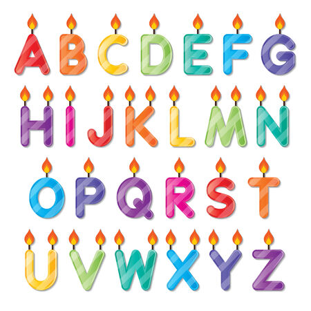 set of colorful capital alphabets A to Z candles Vector