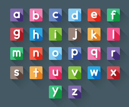 a to z small alphabet letters in flat long shadows style Banco de Imagens - 30565552