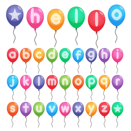 colorful smalll letters a to z balloons for party Illustration