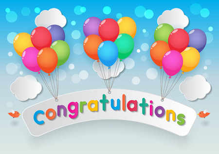 congratulations sign: paper congratulations sign, balloons, cloud and birds on sunny sky background Illustration