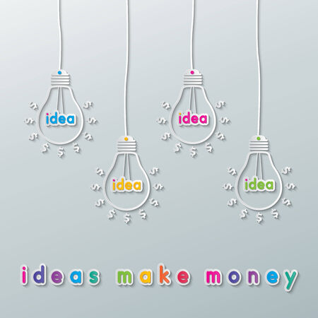 colorful paper light bulbs with dollar, pound sterling, euro and yen currency signs. Vector