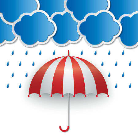 raining: red-white umbrella and clouds in raining sky background