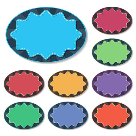 star burst: colorful starburst badges with stitch in flat style