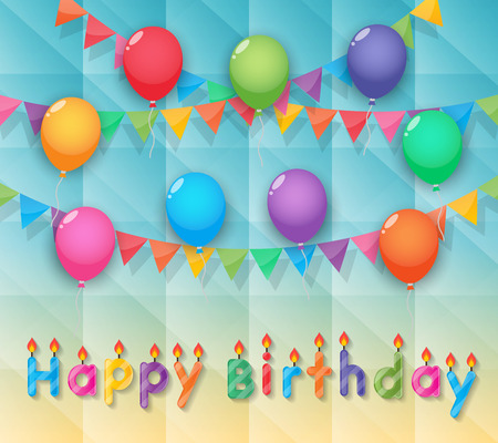 happy birthday candles balloon and party flags sky background Vector