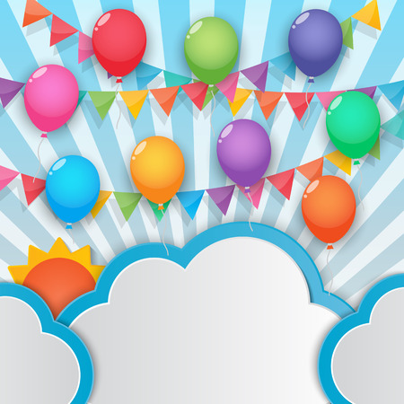 balloons cloud bunting and garland decoration on sunny sky background