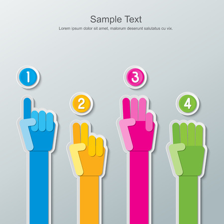 number four: four step colorful paper hands and number buttons infographics Illustration