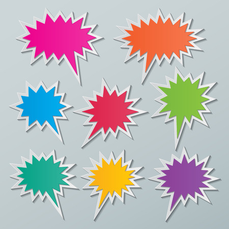 set of blank colorful paper starburst speech bubbles. Vettoriali