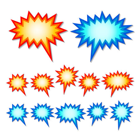 set of red and blue starburst speech bubbles. 向量圖像