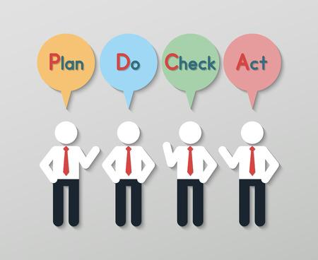 management qualit�: hommes d'affaires montrant plan ne v�rifient le cycle PDCA acte avec des bulles. concept d'entreprise de gestion de la qualit� dans le style plat moderne.