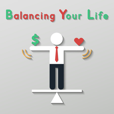 businessman balancing money dollar sign and red heart. idea balance your life business concept in modern flat style.