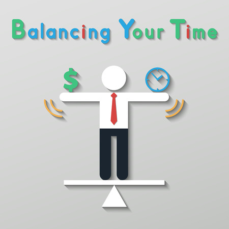 businessman balancing money dollar sign and time clock. idea balance your life business concept in modern flat style. Иллюстрация