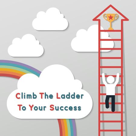 career ladder: businessman climbing the ladder to get a trophy. idea leadership business plan concept in modern flat style. Illustration