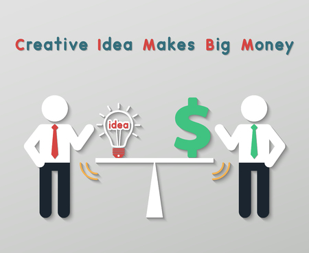 creative money: businessmen balancing money dollar sign and idea light bulb. idea creative business plan concept in modern flat style.