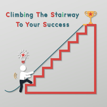 step ladder: businessman climbing the stairway to get a thophy. idea leadership business plan concept in modern flat style.