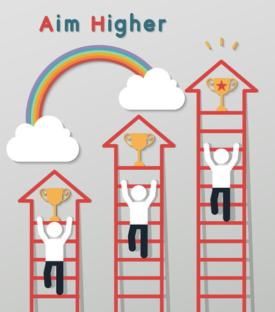 corporate ladder: businessmen climbing the ladder to get a trophy on rainbow sky backgroud. idea leadership business plan concept in modern flat style. Illustration
