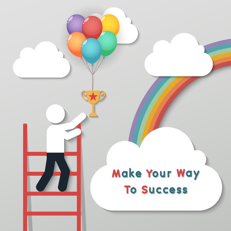 backgroud: businessman holding bunch of money dollar sign balloons on rainbow sky backgroud. idea leadership business plan concept in modern flat style.