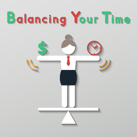 business woman balancing money dollar sign and time clock. idea balance your life business plan concept in modern flat style. Vector