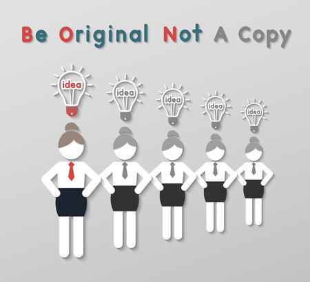 copycat: paper best original idea business woman standing ahead others copycat. idea leadership business concept in modern flat style. Illustration