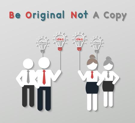 copycat: paper best original idea businessman and businesswoman standing ahead others copycat. idea leadership business concept in modern flat style. Illustration
