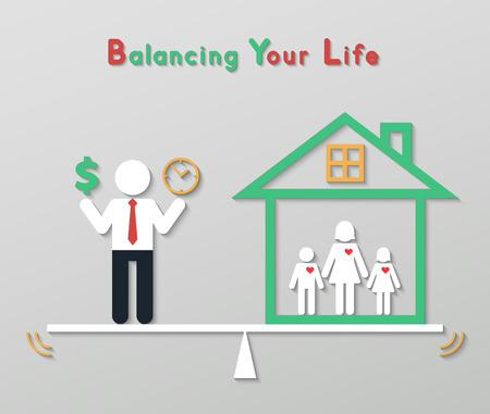 Zakenman die geld dollarteken en tijd in evenwicht brengen met familie thuis. idee balans je leven business concept in het moderne vlakke stijl. Stockfoto - 32148612