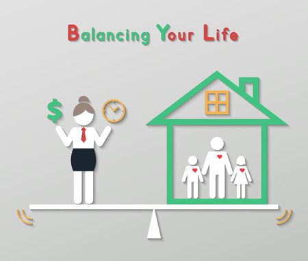 woman holding money: business woman holding money dollar sign and time balancing with family at home. idea balance your life business concept in modern flat style.