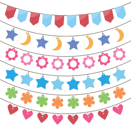 bunting and garland decoration vector set. Vector
