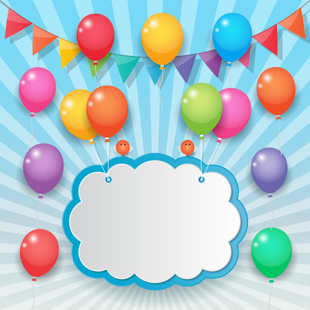 balloons cloud bunting and garland decoration on sunny sky background. Vector