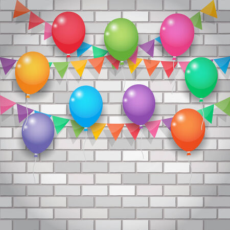 balloon and bunting, garland decoration, party flags on white and grey brickwall background. Vector