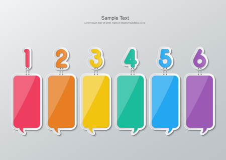 set of blank colorful paper speech bubbles stapled with 1-6 numbers in flat style. Vector