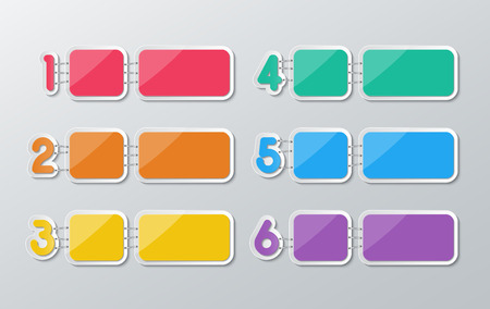stapled: set of blank colorful rectagle papers stapled with 1-6 numbers in flat style. Illustration