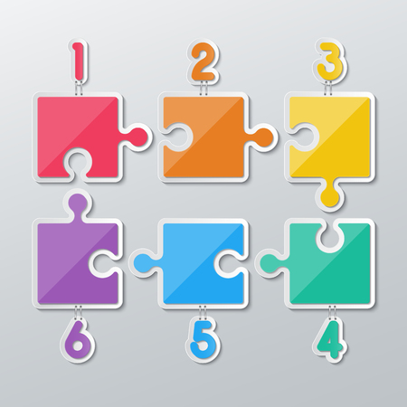 stapled: set of blank colorful paper puzzles stapled with 1-6 numbers in flat style.