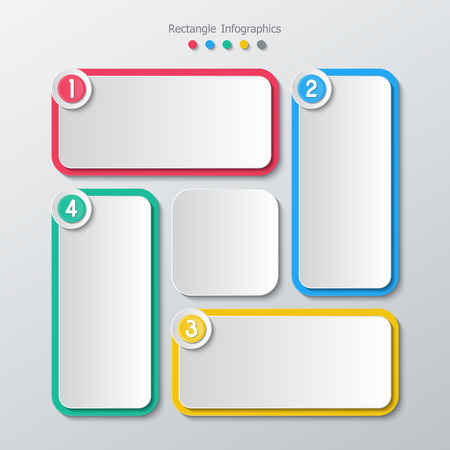 colorful paper four step rectangle infographics in flat design style. Vector