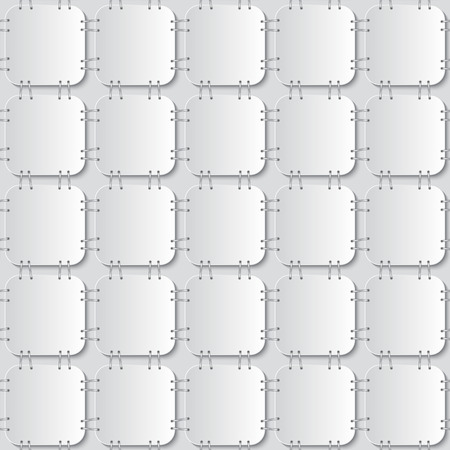 white papers attached with staples seamless pattern on light grey background.