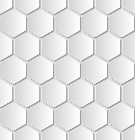 hexagons: white hexagon papers seamless pattern on light grey background. Illustration
