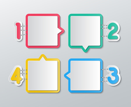 stapled: set of blank colorful paper speech bubbles stapled with 1-4 numbers in flat style.