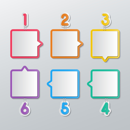 attached: set of blank colorful paper speech bubbles stapled with 1-6 numbers in flat style. Illustration